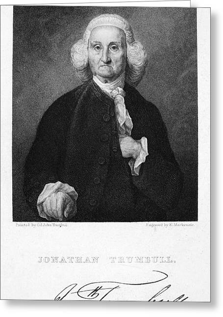Statesman Greeting Cards - Jonathan Trumbull Greeting Card by Granger