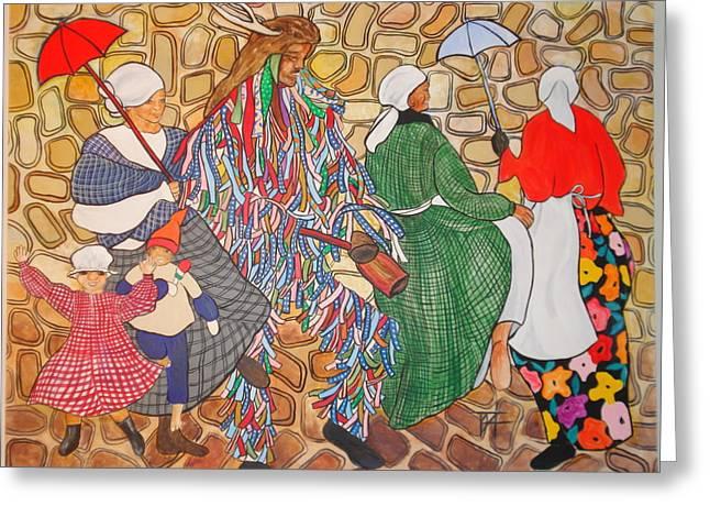 Black History Pastels Greeting Cards - Jonkonnu Mural Panel 3 Greeting Card by Tessie Adams