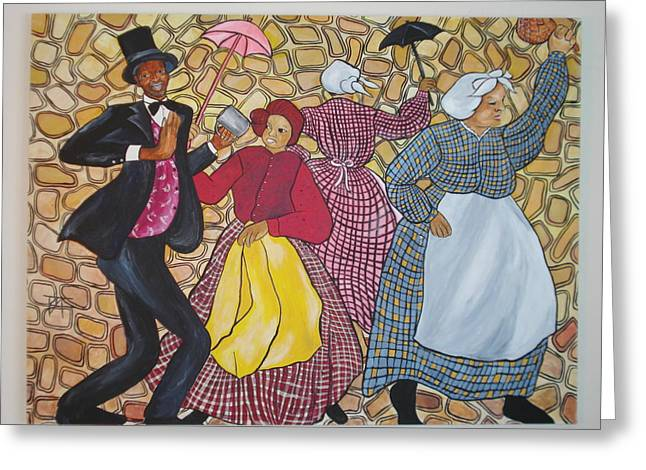 Black History Pastels Greeting Cards - Jonkonnu Murals Panel 4 Greeting Card by Tessie Adams