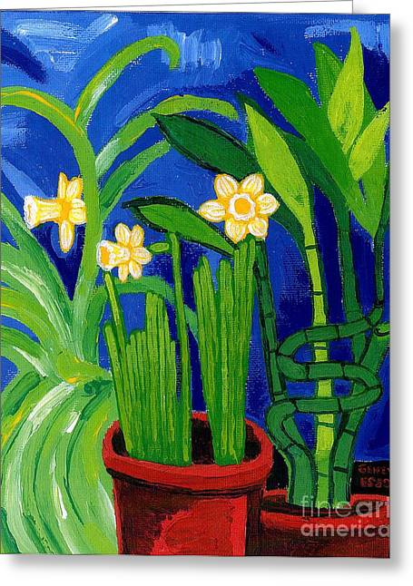 Plant Stretched Canvas Greeting Cards - Jonquils and Bamboo Plant Greeting Card by Genevieve Esson