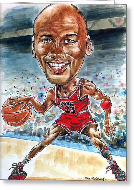 Basketball Print Greeting Cards - Jordan Greeting Card by Tom Hedderich