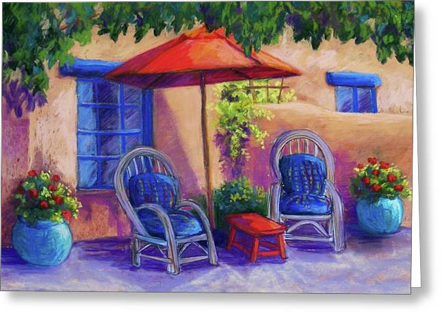 Umbrellas Pastels Greeting Cards - Josefinas Courtyard Greeting Card by Candy Mayer