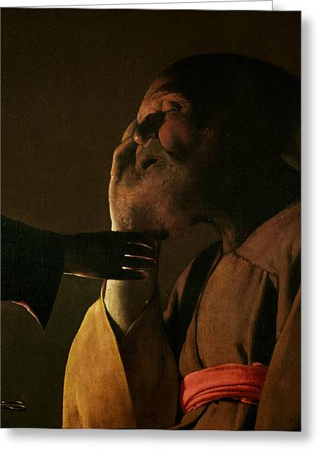 Saint Joseph Greeting Cards - Joseph and the Angel Greeting Card by Georges de la Tour