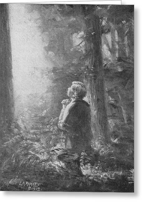 Sacred Grove Greeting Cards - Joseph Smith Praying in the Grove Greeting Card by Lewis A Ramsey