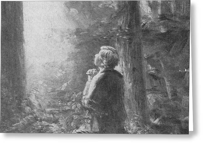 Joseph Smith Praying in the Grove Greeting Card by Lewis A Ramsey