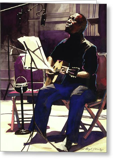 Session Musician Greeting Cards - Josh White Singing the Blues Greeting Card by David Lloyd Glover