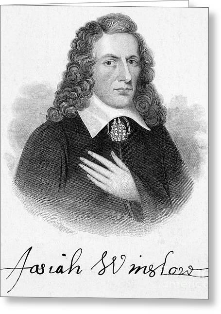 Autograph Greeting Cards - Josiah Winslow (1629?-1680) Greeting Card by Granger