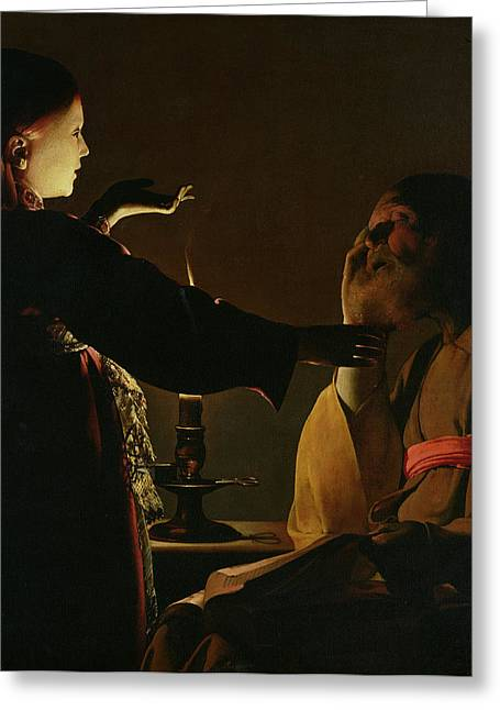 Candle Lit Greeting Cards - Jospeh and The Angel Greeting Card by Georges de la Tour