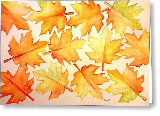 Reds Of Autumn Drawings Greeting Cards - Joy Of Fall Greeting Card by Jessica Aviles