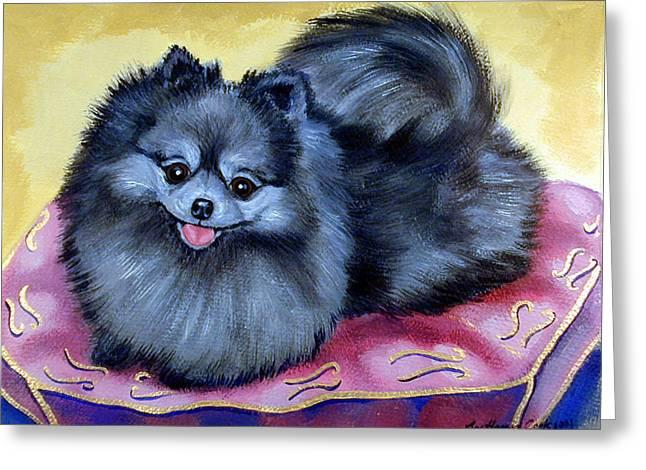 Pomeranian Greeting Cards - Joyful - Pomeranian Greeting Card by Lyn Cook