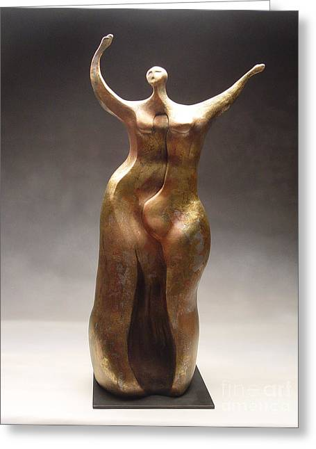 Hands Sculptures Greeting Cards - Joyful Greeting Card by Judith Birtman