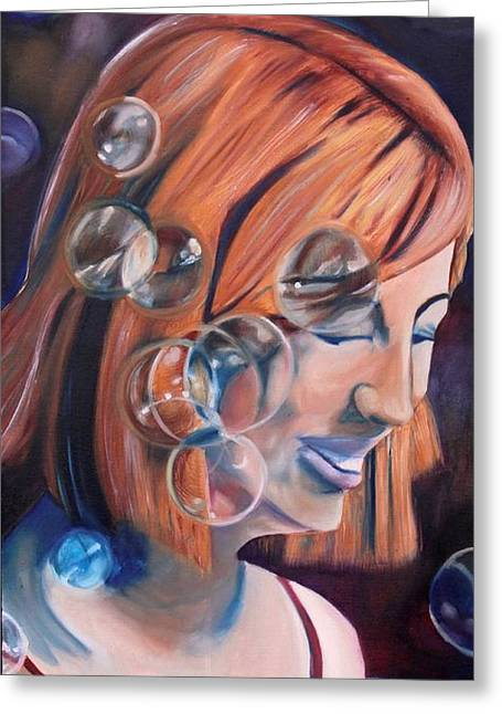 Bubbly Paintings Greeting Cards - Joyful Wonder Greeting Card by Melissa Whitaker