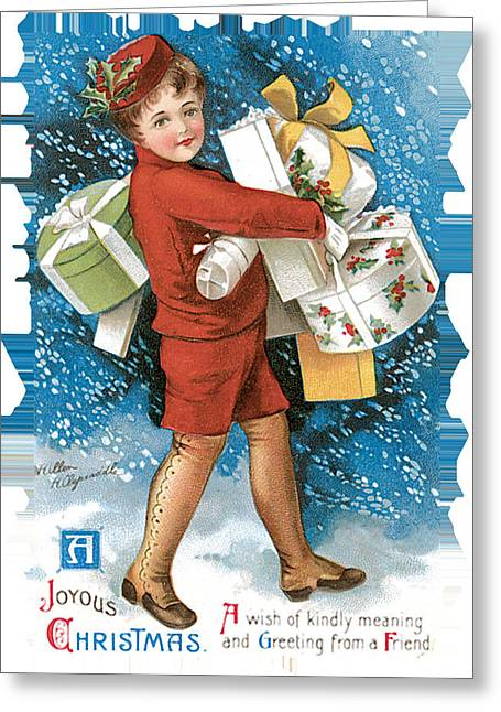 Christmas Greeting Greeting Cards - Joyous Christmas Greeting Card by Unknown