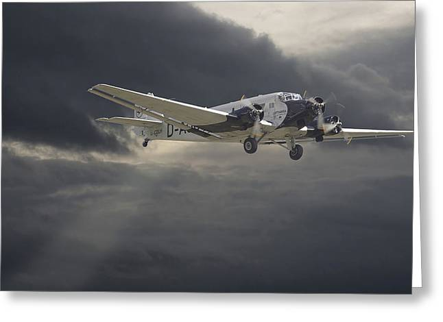 Storm Clouds Digital Art Greeting Cards - Ju52 -- Iron Annie Greeting Card by Pat Speirs