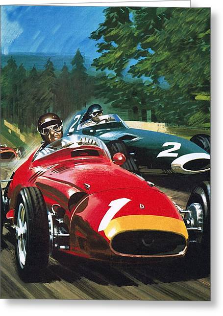 Juan Greeting Cards - Juan Manuel Fangio Greeting Card by Wilf Hardy