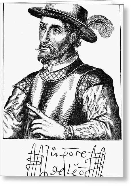 Autograph Greeting Cards - Juan Ponce De Leon Greeting Card by Granger