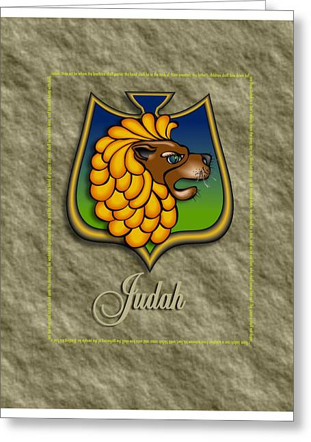 Judah Greeting Cards - Judah Shield Greeting Card by John D Benson