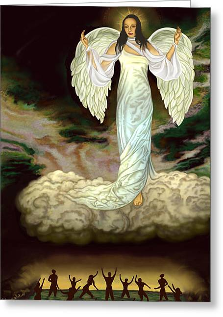 Goddess Print Greeting Cards - Judgement Goddess Greeting Card by Pamela Wells