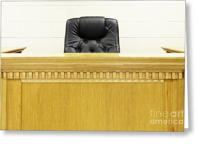Legal System Greeting Cards - Judges Bench and Chair Greeting Card by Skip Nall