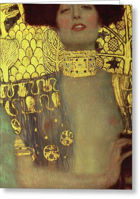 Jewish Greeting Cards - Judith Greeting Card by Gustav Klimt