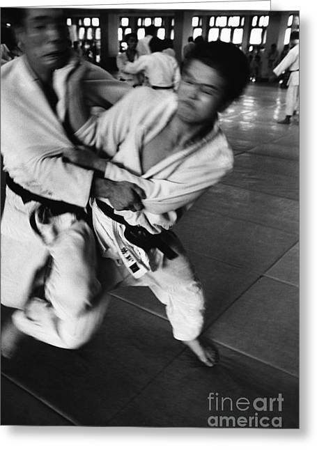 Dojo Greeting Cards - Judo Greeting Card by Bernard Wolff