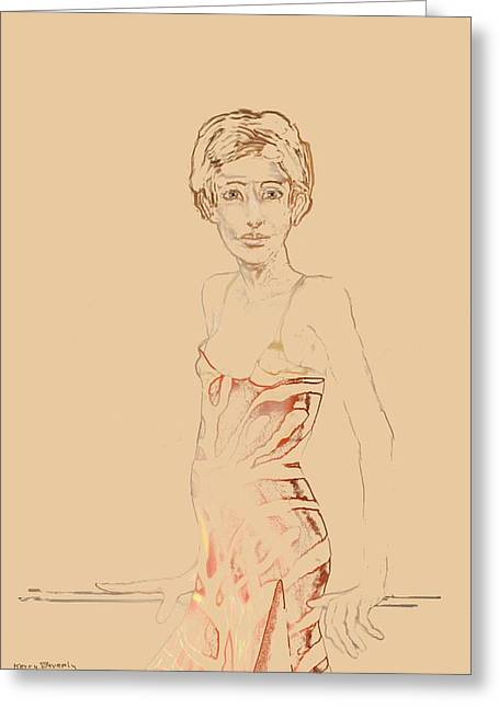 Muted Drawings Greeting Cards - Judy Greeting Card by Kerry Beverly