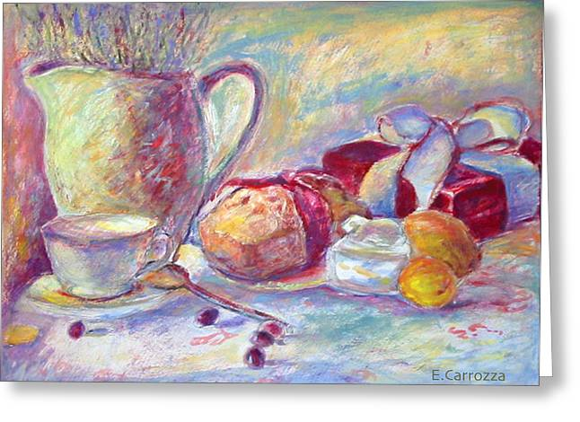 Lemon Art Drawings Greeting Cards - Judys Christmas Bread Greeting Card by Elizabeth Carrozza