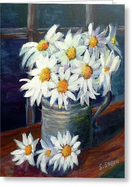 Pewter Mugs Greeting Cards - Jug of daisies Greeting Card by Saga Sabin