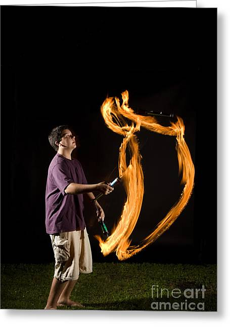 Stroboscopic Greeting Cards - Juggling Fire Greeting Card by Ted Kinsman