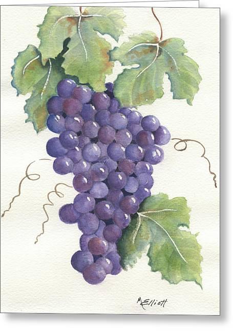 Purple Grapes Greeting Cards - Juicy Cluster Greeting Card by Marsha Elliott