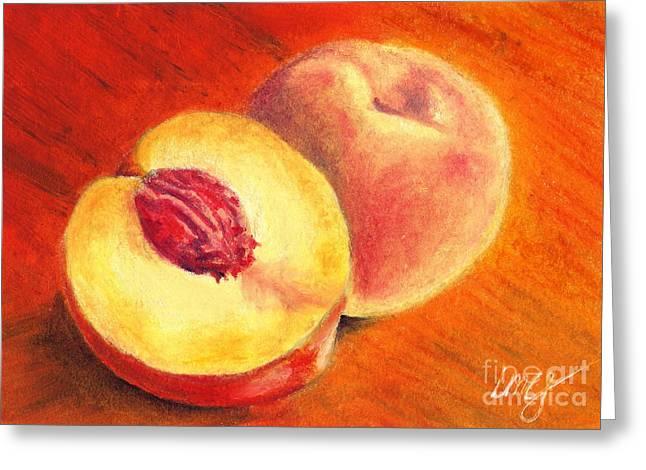 Peach Drawings Greeting Cards - Juicy Fruit Greeting Card by Iris M Gross