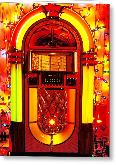 Player Greeting Cards - Juke box with Christmas lights Greeting Card by Garry Gay