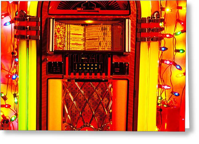 Juke box with Christmas lights Greeting Card by Garry Gay