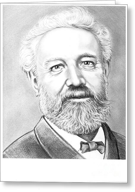 Famous Person Drawings Greeting Cards - Jules Verne Greeting Card by Murphy Elliott