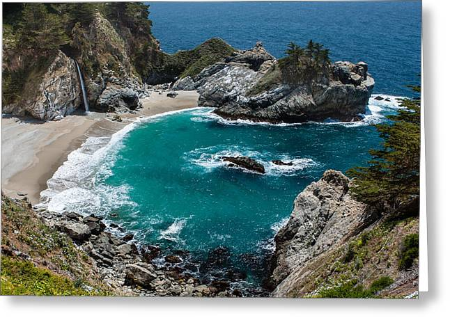 Up201209 Greeting Cards - Julia Pfeiffer Burns State Park One Greeting Card by Josh Whalen