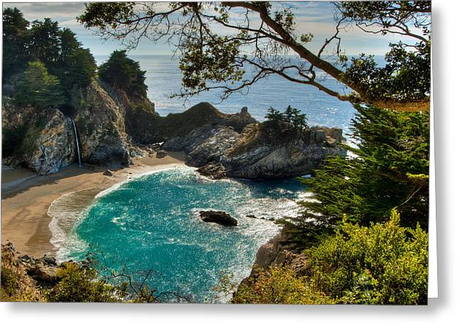 Hdr Look Greeting Cards - Julia Pfeiffer State Park Falls Greeting Card by Connie Cooper-Edwards