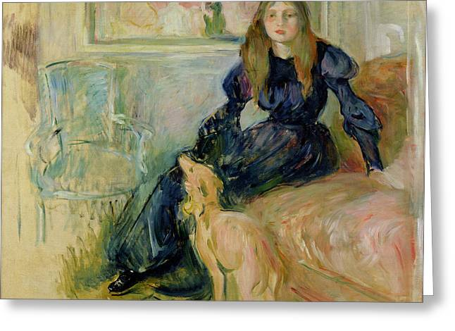 Lounge Paintings Greeting Cards - Julie Manet and her Greyhound Laerte Greeting Card by Berthe Morisot