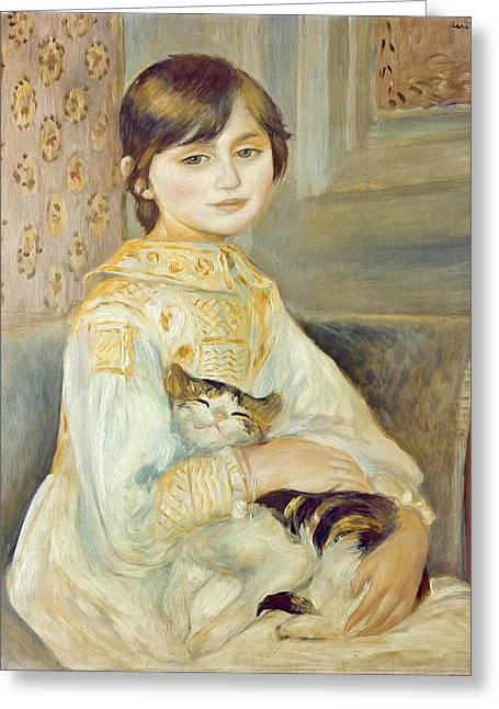 Julie Greeting Cards - Julie Manet with Cat Greeting Card by Pierre Auguste Renoir