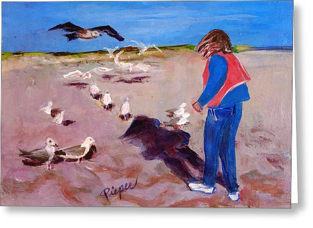Julie On The Cape Greeting Card by Elzbieta Zemaitis
