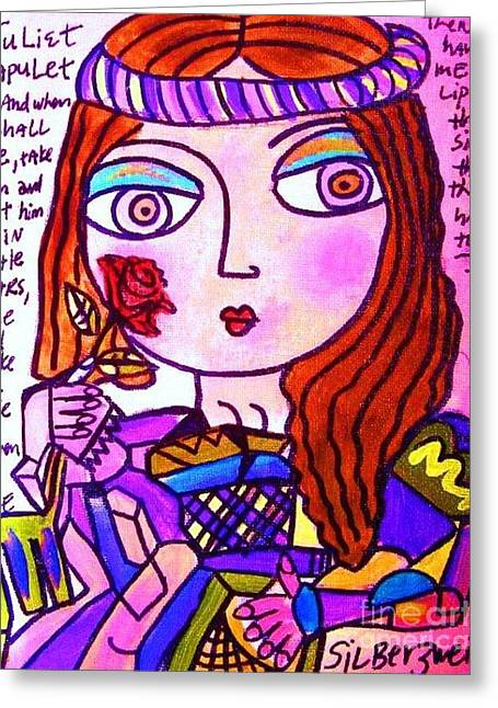 Lovers Of The Sun Greeting Cards - Juliet Capulet Greeting Card by Sandra Silberzweig