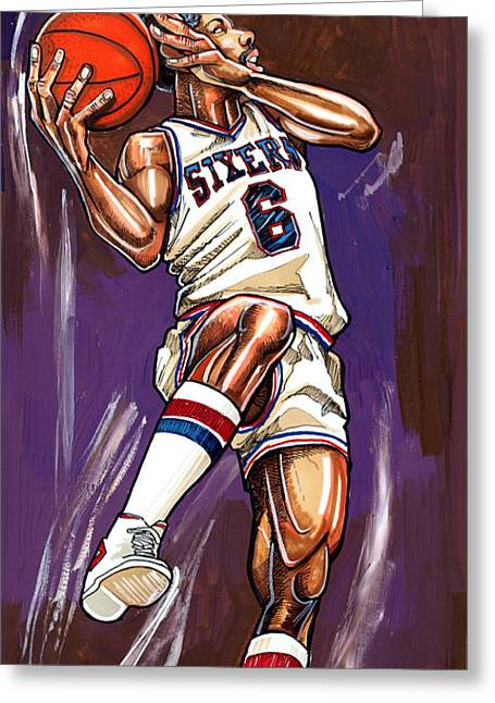Fame Drawings Greeting Cards - Julius Erving Greeting Card by Dave Olsen