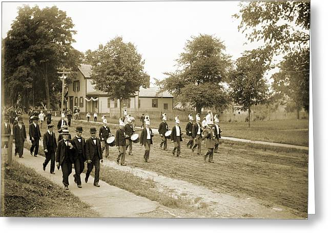 Marching Band Greeting Cards - July 4th Parade 1891 Greeting Card by Jan Faul