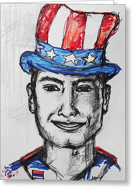 4th July Paintings Greeting Cards - July 4th Greeting Card by Sladjana Lazarevic