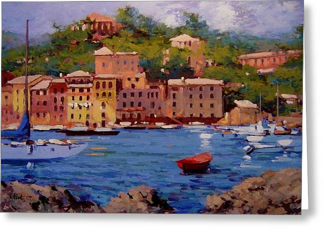 Portofino Italy Paintings Greeting Cards - July in Portofino Greeting Card by R W Goetting