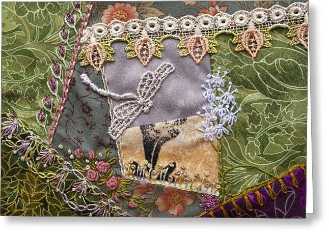 Dragonflies Tapestries - Textiles Greeting Cards - July Greeting Card by Masha Novoselova
