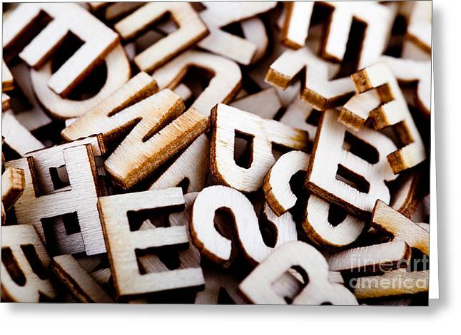Literate Greeting Cards - Jumbled letters close up Greeting Card by Simon Bratt Photography LRPS