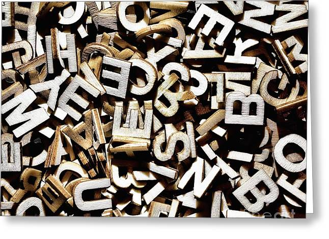 Literate Greeting Cards - Jumbled letters Greeting Card by Simon Bratt Photography LRPS
