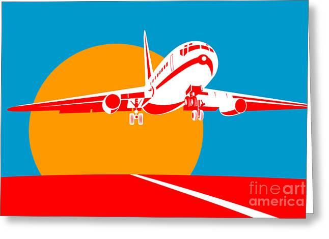 Commercial Digital Art Greeting Cards - Jumbo Jet  Greeting Card by Aloysius Patrimonio