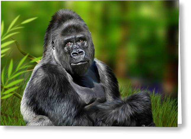 Ape Greeting Cards - Jumbo Greeting Card by Julie L Hoddinott