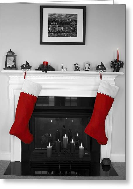 Decorated For Christmas Greeting Cards - Jumbo Red Stockings Greeting Card by Sally Weigand